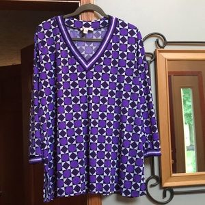 Michael Kors geometric design purple top 2X
